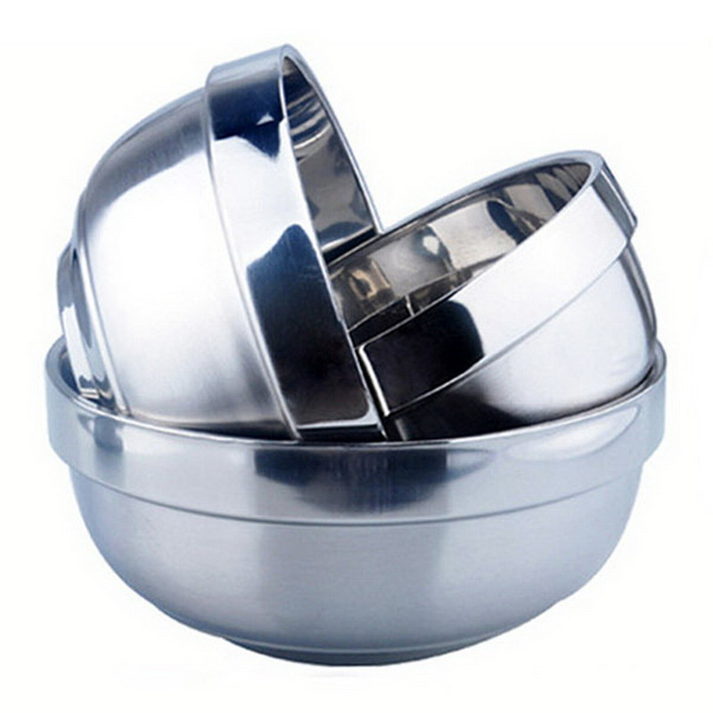 1 PC New Eco-Friendly Bowl Classic Anti-Rust Stainless Steel Smooth Rolled Edge Resistant Safe Kids Children Bowl VBV26 P10