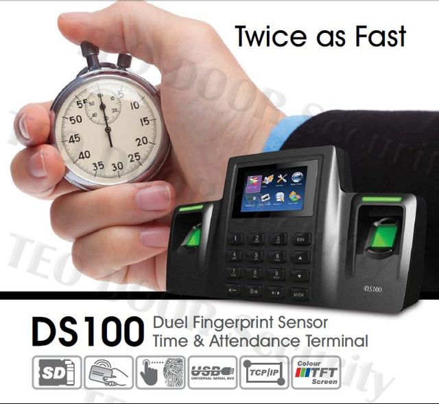 ZK Software Dual Sensor Color Time& Attendance DS100 Double
