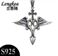 Free Shipping 925 Sterling Silver Cross Angel Wings Pendant Necklace Fashion Personality Pendant Boys Accessories Boyfriend