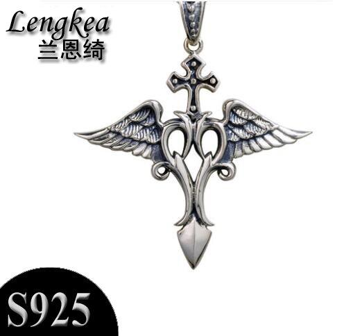 Hommes choker 925 argent sterling croix + ailes d'ange pendentif collier mode personnalité pendentif garçons accessoires petit ami cadeau