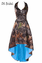 DK Bridal Halter Short Camo Bridesmaid Dresses High Low Camoflage Prom Homecoming Formal Party Gowns for Women DK1802