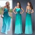 Moda Ombre vestido Gradual cambio de Color verde vestidos baile vestidos fiesta vestidos formales