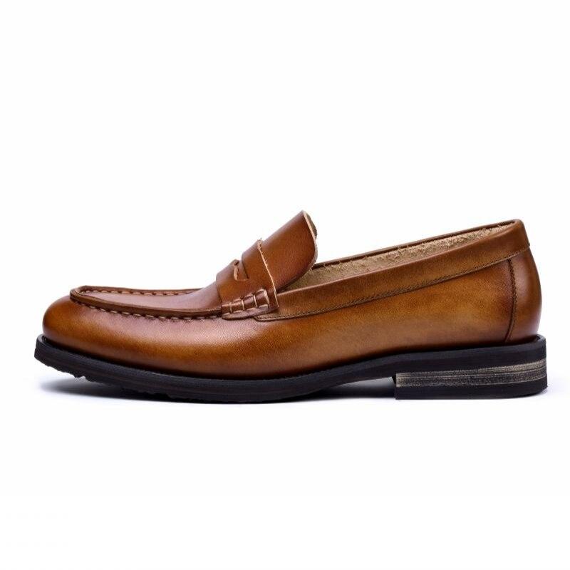 Em De Verão Respirável Sapatas Homens Size coffee Estilo Plus Sapatos Chaussure Homme Brown 2019 Genuíno Do Couro Casuais Deslizamento Zapatos Britânico Hombre vxPwFdYn