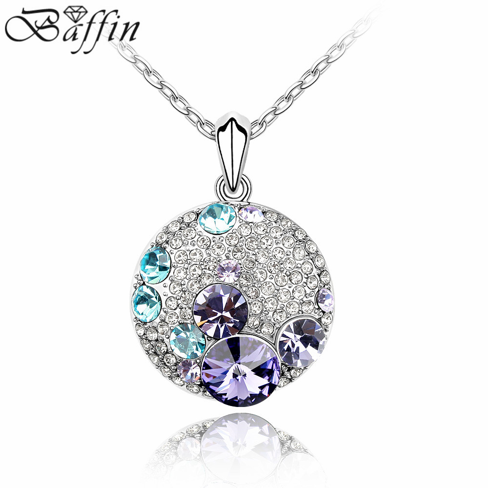 Fashion Round Gold Color Crystal Necklace Crystal from Swarovski Crystal Necklaces Pendants Women Vintage Style Jewelry