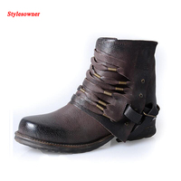 Stylesowner Women Ankle Boots Biker Cowboy Chain Fringe Boots 2016 New High Quality Western Casual Motorcycle Bota