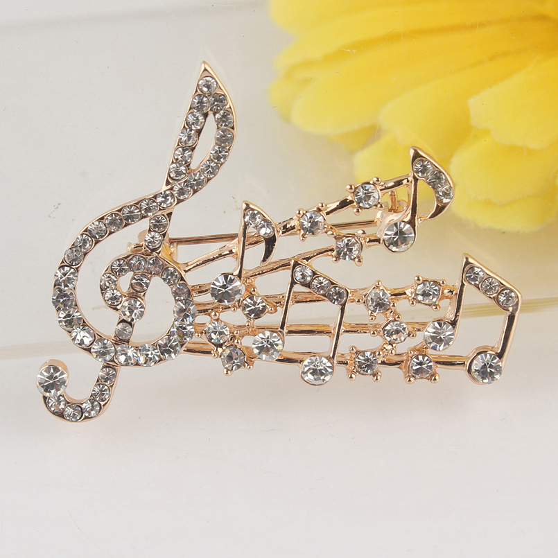 Elegant Crystal Brooch Musical Notes and Treble Clef (4)