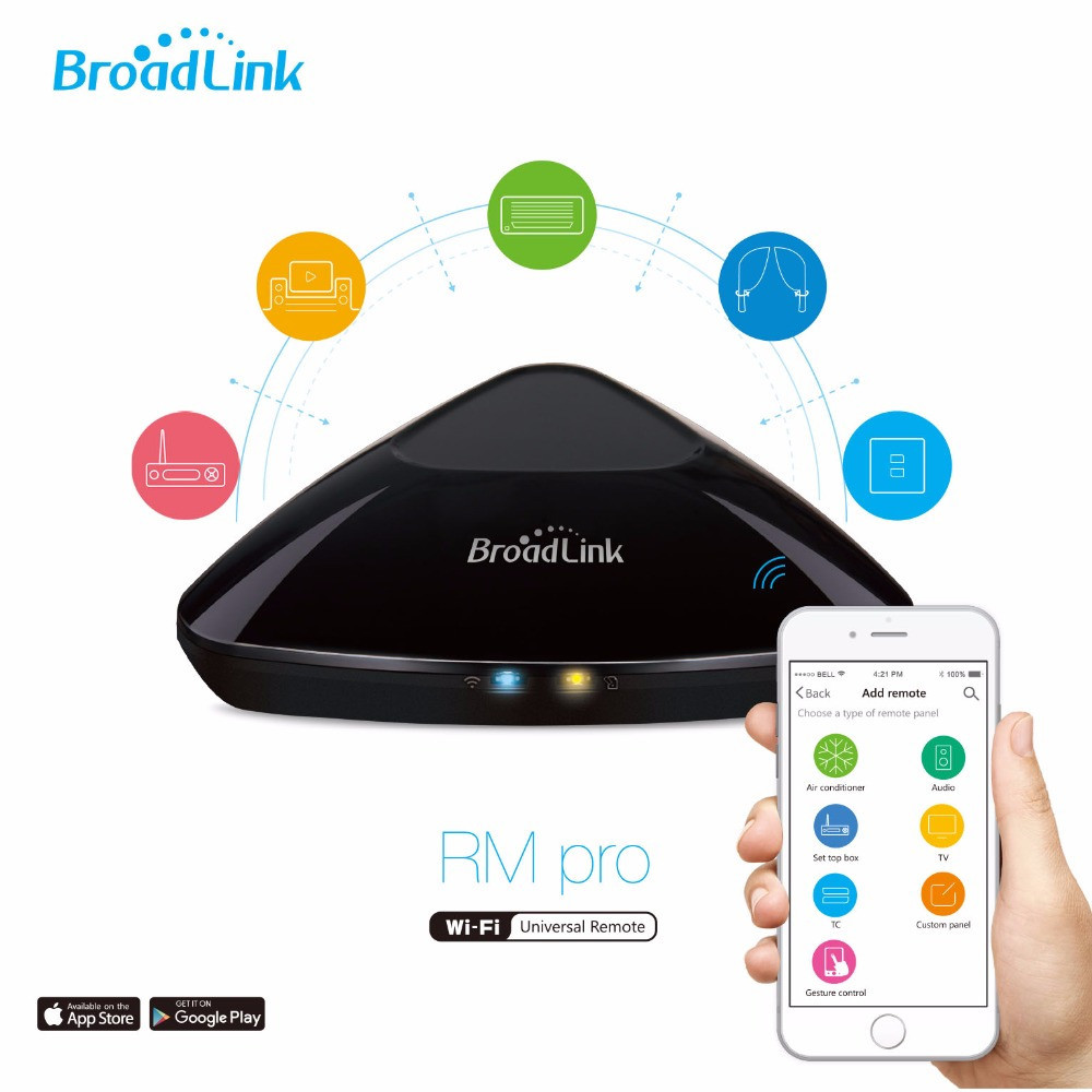 Broadlink EU US RM Pro RM2 Smart Home Automation,Universal Intelligent Controller,WIFI+IR+RF315/433 Control via IOS Android APP smart home automation broadlink rm2 rm pro universal intelligent remote controller wifi ir rf switch via ios android phone