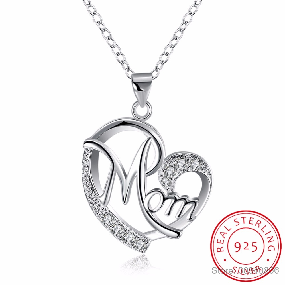 LEKANI Letter Mom 925 Sterling Silver Fashion AAA Zirconia Charm Loves Heart Necklace & Pendant Mother's Day Gift For Mum