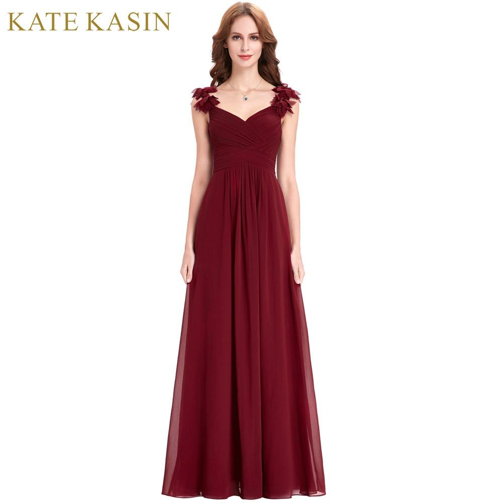 Bridesmaid     Dresses   Long Chiffon Applique Prom   Dresses   Cheap Floor Length Wedding   Bridesmaid   Gown Formal Burgundy   Dress   2018