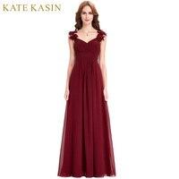 Bridesmaid Dresses Long Chiffon Applique Prom Dresses Cheap Floor Length Wedding Bridesmaid Gown Formal Burgundy Dress