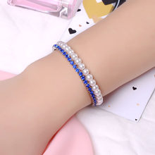 SUKI 2 Rows Elegant Blue Crystal Pearl Beaded Open Stretch Bangle Cuff Bracelet Arm Inspirational Jewelry Accessory for Girls(China)
