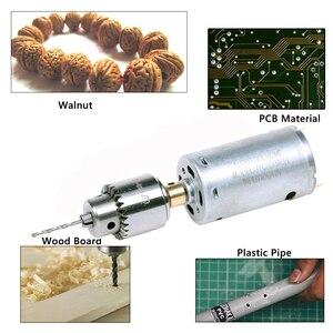 Image 2 - 3 12 v 1A Regolabile DC Motore Elettrico Punte da Trapano Set Mini Drill Presse Utensili elettrici fit Gioielli Noce PCB legno di Perforazione del Foro Seghe