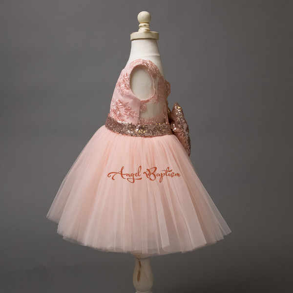 992c65b8bc1e ... Blush Pink sequined Lace Flower Girl Dress baby first year birthday gown  little girls ball gown ...