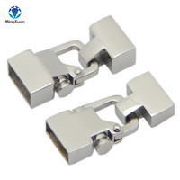 Stainless Steel Silver Tone 12 4mm 12 6mm Bracelet Clasps Jewelry Findings Fit Leather Cord Rope