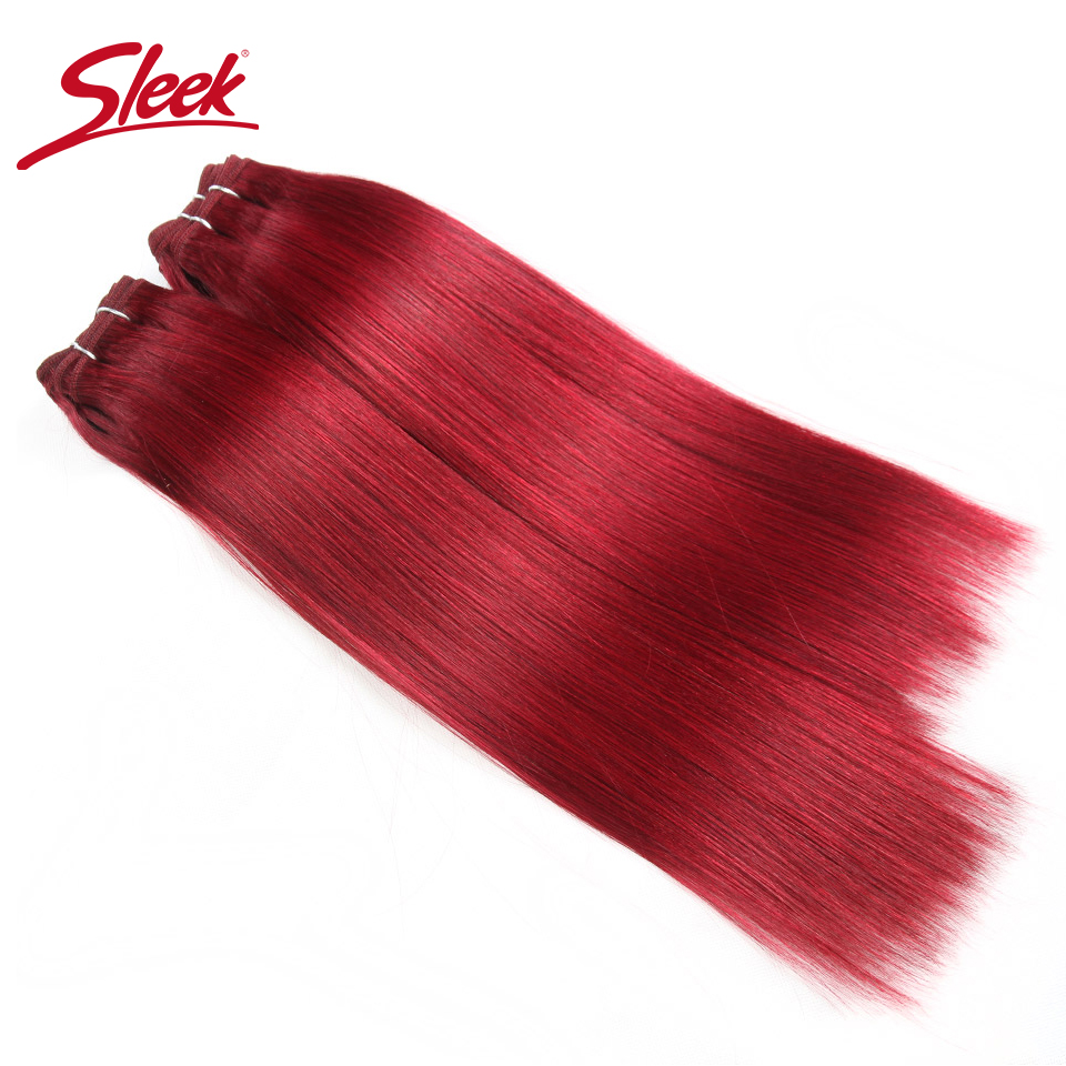 Sleek Brazilian Yaki Straight Hair 4 Bundles Deal 190G 1 Pack Human Hair Weave Bundles Non Remy Red/Burg/1B/2/4 Hair Extension