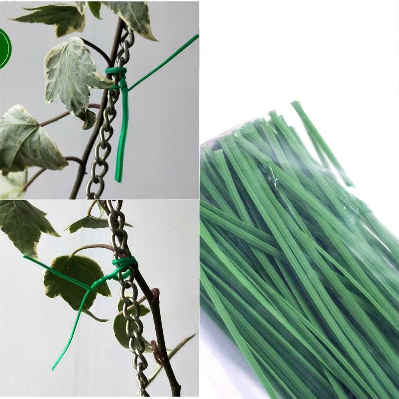 100pcs Green Cable Tie For Gardening Vine Climbing Plants Supports Lines Plant Brackets Parts For Flower Cucumber Grape Rattan