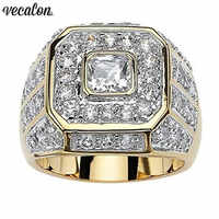 Vecalon Deluxe Male ring Yellow Gold Filled 925 silver AAAAA Cz Party wedding band rings For men Finger Jewelry Gift