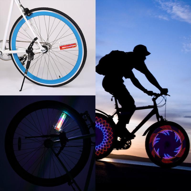 Bicycle Wheel Light 32 Colorful LEDs Cycling Bike Spoke Signal Lamp Warning Light 42 Patterns On/off Switch movement sensor