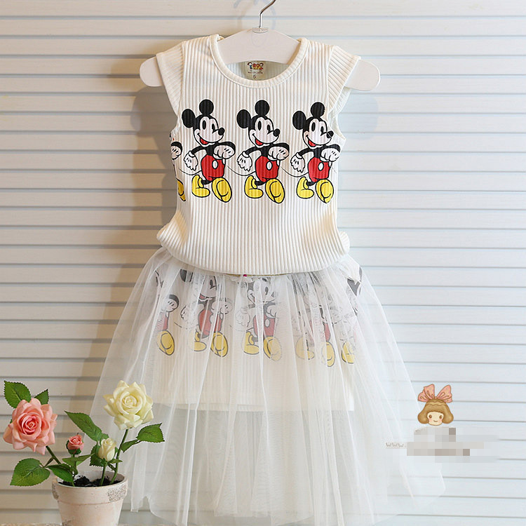 2017 Summer 2-7Y Children Clothes Set Fashion Vest+skirt 2pcs Girls Dresses Cartoon Mickey Clothing Sets Kids Girl Clothes 2s170 fashion kids baby girl dress clothes grey sweater top with dresses costume cotton children clothing girls set 2 pcs 2 7 years