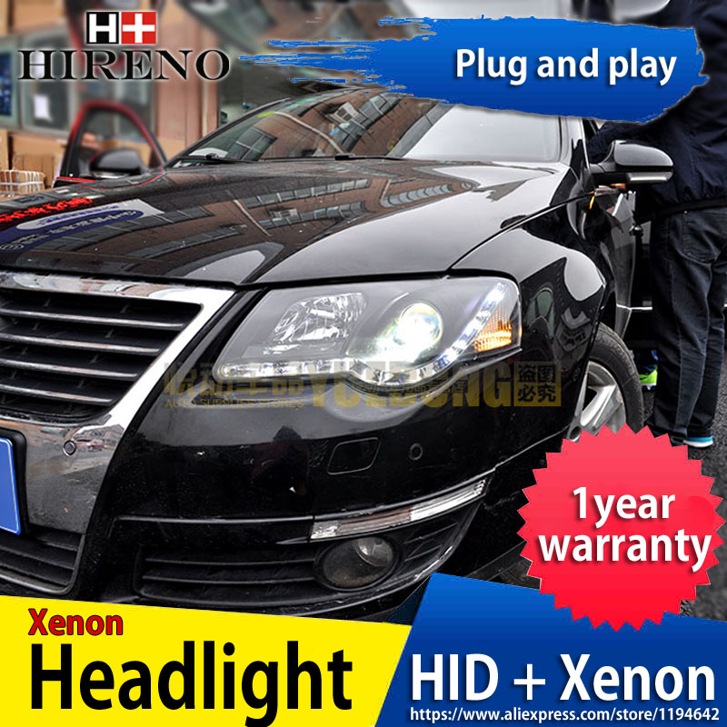 Hireno Headlamp for 2007-2011 Volkswagen Passat B6 Headlight Headlight Assembly LED DRL Angel Lens Double Beam HID Xenon 2pcs hireno car styling headlamp for 2003 2007 honda accord headlight assembly led drl angel lens double beam hid xenon 2pcs