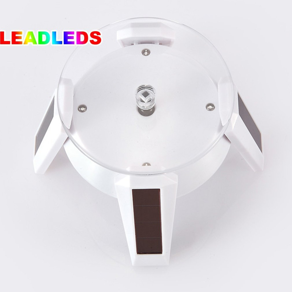 Powered Jewelry Watch White Solar Rotating Display Stand Turn Table LED Light