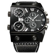 OULM спортивные часы для мужчин аналоговые кварцевые часы 3 Часовой пояс суб-циферблаты дизайн большой чехол Oversize модные черные наручны…