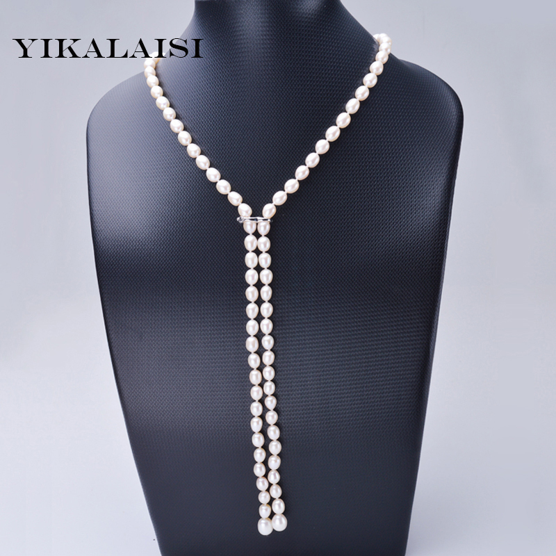 YIKALAISI 2017 New Fashion Length 110 cm white 7-8MM natural freshwater pearl jewelry long necklace For Women best giftsYIKALAISI 2017 New Fashion Length 110 cm white 7-8MM natural freshwater pearl jewelry long necklace For Women best gifts