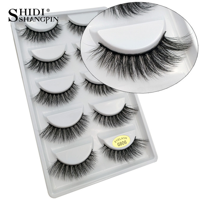 SHIDISHANGPIN 5 pairs mink eyelashes natural long 3d mink lashes 1 box false eyelashes hand made makeup faux mink lashes cilios