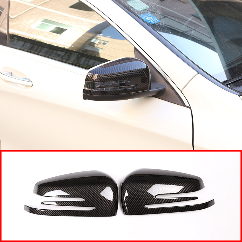 2pcs Carbon ABS Side Door Rearview Mirror Frame Cover Trim Car Accessory For Mercedes Benz A