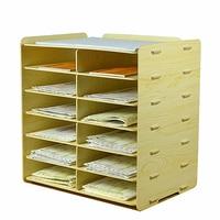 Holz A5 Papier Dokumente Spezielle Ticket Erhalt Box Express Bill Clearing Box Desktop Multilayer Daten Regal Schrank-in Home Office Aufbewahrung aus Heim und Garten bei