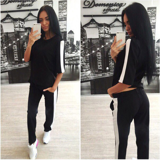 Autumn Women's Style O Neck Three Quarter Sleeve Patch Work Tops Long Pants Fashion Women Two Pieces Sets Suit Tracksuit CL3290