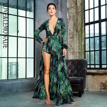 Love&Lemonade   Leaf Printing Deep V-Neck Chiffon Long-Sleeved Playsuit  LM1405 - DISCOUNT ITEM  10% OFF All Category