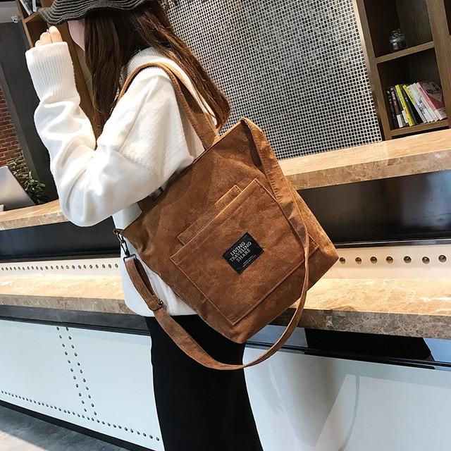 Women Corduroy Zipper Shoulder Bag Cotton Canvas Handbag  1