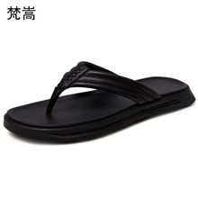 Slippers mens summer fashion outdoor flip-flops men Genuine leather soft soles anti-skid sandals flip flops cowhide