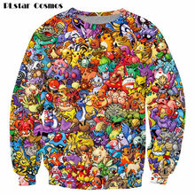 PLstar Cosmos Pokemon 8-Bit Collage Pokemon Sweatshirt Frauen Männer 90s video spiel/anime 3d drucken Sweats jumper pullover plus größe(China)