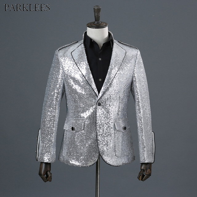 Shiny Silver Sequin Glitter Suit Blazer Men 2018 Fashion Slim Edge Blazer  Male Nightclub Prom DJ Stage Singer Jacket Outerwear 7ae481c1fc18