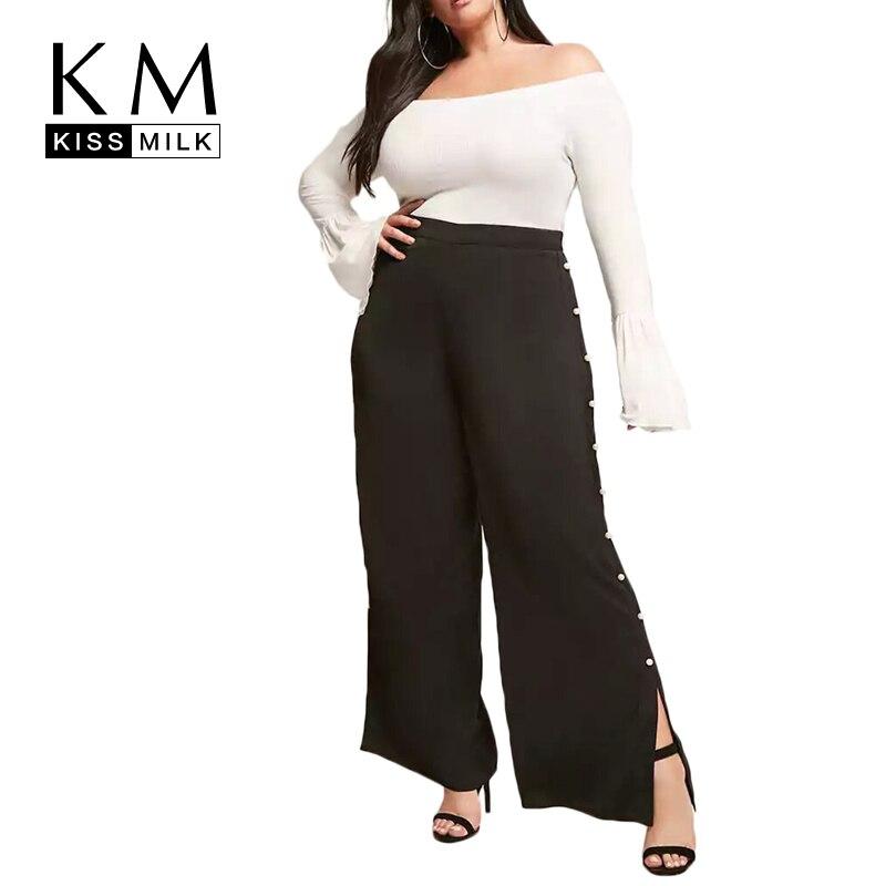 Kissmilk Plus Size 2018 Women Black Full Length High Waist   Pant   Large Size Zipper Fly   Wide     Leg     Pants   Over Size Loose Rivet   Pant
