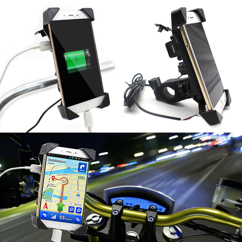 NEW Motorcycle Phone Holder With USB Charger Mobile Phone Holder for Electric Car Motorbike Mountain Bike Holder in Decals Stickers from Automobiles Motorcycles