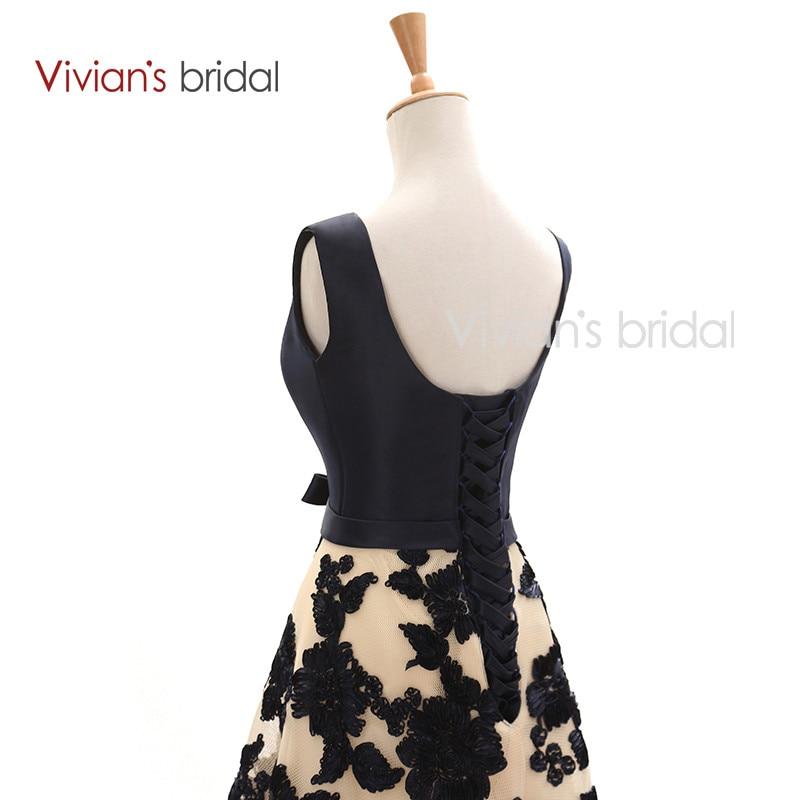 Vivian's Bridal Elegant A Line Evening Dresses Satin Floral Print Lace Long Formal Evening Gown Floor Length Women Party Dresses 13
