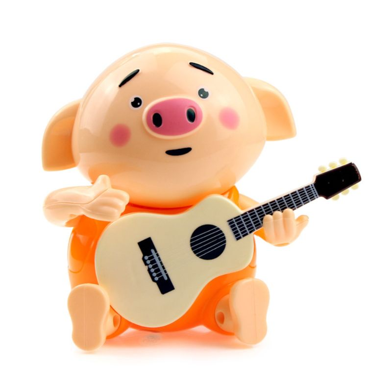 Premium New 1Pc Cute Pig Playing The Guitar Electric Light Music Toy For Kids Children Playing Educational Toys Gifts