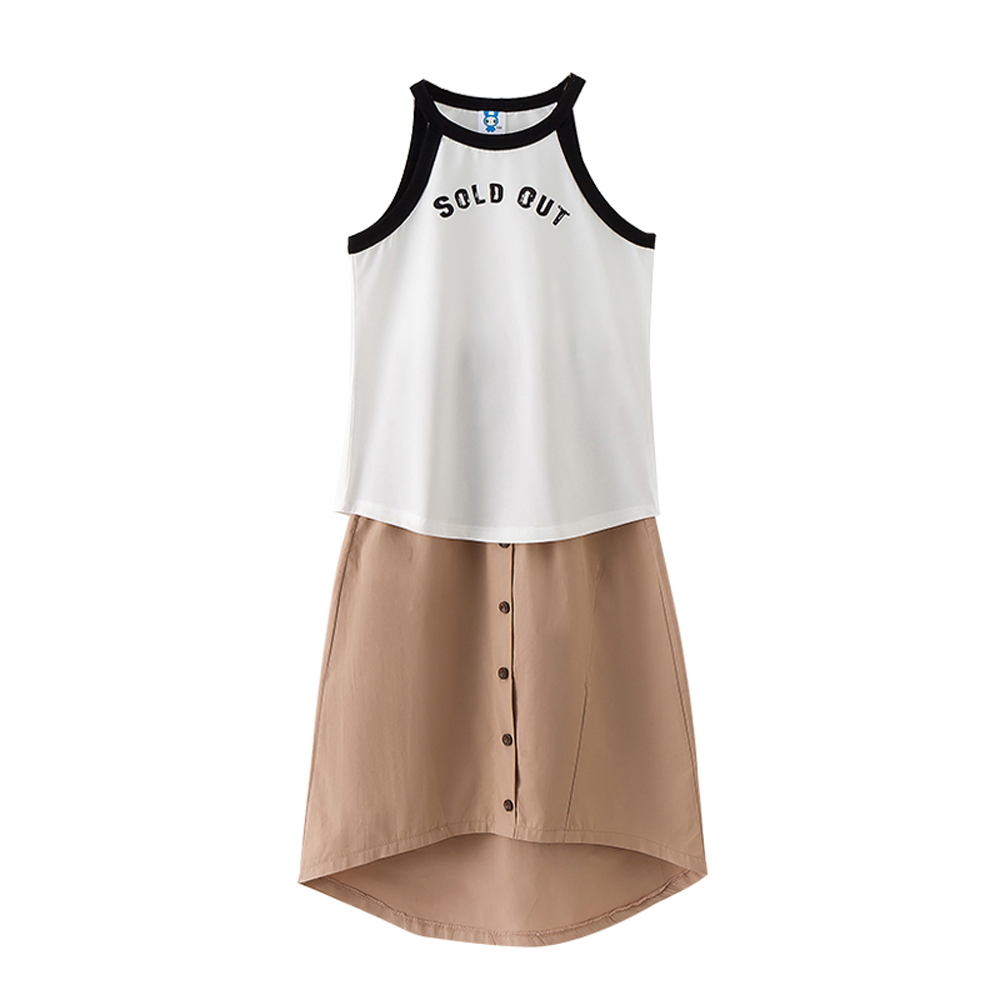 B-S68 New Fashion Summer Girls Casual Set 5-13T Teenager Solid Color Set Kids Bare shoulder T-shirt+Skirt 2pcs Outfit Suit little j new fashion kids girl clothes set summer short sleeve love t shirt tops leather skirt 2pcs outfit children suit