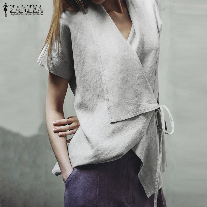 2019 ZANZEA Women Lapel Neck Asymmetrical   Blouse   Summer Short Sleeve Linen Tops Casual Lace Up Solid   Shirt   Femininas Blusas 5XL