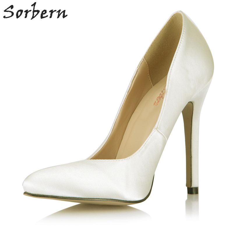 87d130c0f81 Sorbern Ivory Heel Shoes Pointed Toe Slip On Wedding Pump Shoe Satin Ladies  Shoes Sexy Pumps Big Bride Wedding Shoes Custom-in Women s Pumps from Shoes  on ...