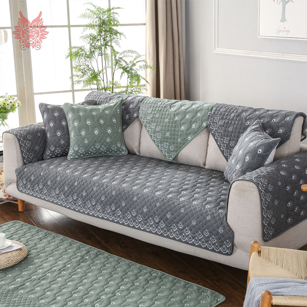Canape Sofa Us 14 14 45 Off Modern Grey Beige Green Peakcock Embroidery Cotton Quilted Sofa Cover Slipcovers Canape Couch Chair Furniture Covers Sp5011 In Sofa