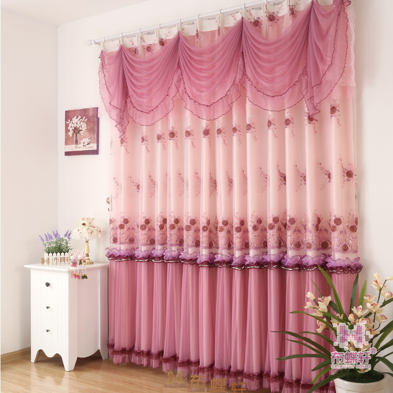 2PCS Warm Pastoral High Grade Lace Curtains For Bedroom Living Dining Room Embroidery Yarn Romantic