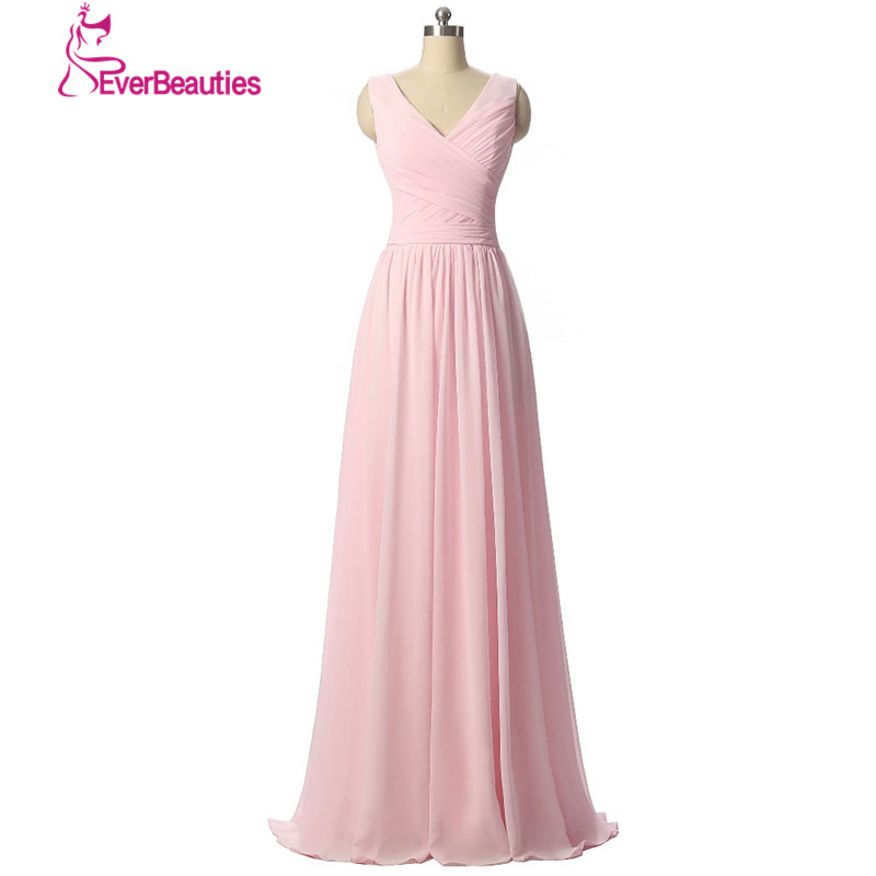 Wedding guest dresses bridesmaid dress long chiffon a line for Light pink wedding guest dress