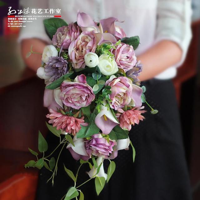 Mixed Colors Waterfall Bride Bouquet Artificial Wedding Bridal Bridesmaids Bouquets Flores Artificiais Atacado Customize Colors