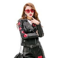2017 Autumn Pink Punk Leather Jacket Women Sequins Spikes Rivets Stars Motorcycle Patch Design Chaqueta Cuero