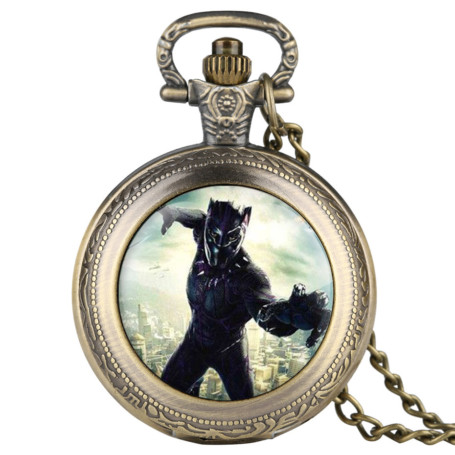Superhero Black Panther Quartz Pocket Watch Men Fashion Fob Watches With Necklace Pendant Male Clock Gifts For Children Boys