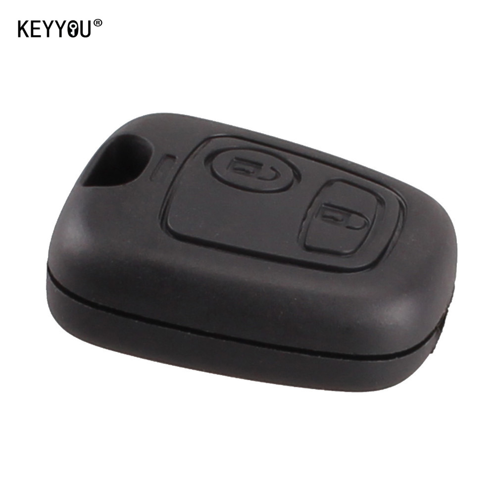 KEYYOU New Remote Key Case Shell Entry Fob 2 Buttons for Peugeot 106 206 306 406 without Blade Free Shipping for honda civic accord crv xrv fit brand black luxury soft leather car seat cover front and rear complete set cover for car seat
